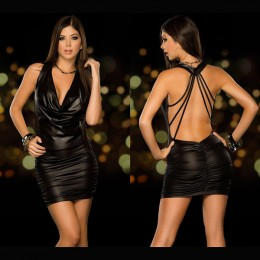 Exposed Halter Backless Party Dress - Black