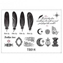 Fashion Feather Moon Star Alphabet Body Art Temporary Tattoo Paste 5 Styles/lot