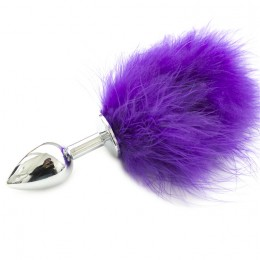 Metal Rabbit Tail Anal Plug - Purple