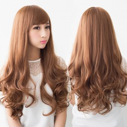 Sexy Long Wave Lady's Synthetic Hair Wig + Wig Net Brown - Oblique Fringe