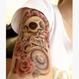 Large Tattoo Sticker Halloween Horror Skull Flower Clock Temporary Tattoo 1pcs