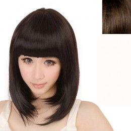 Delicate Newest Women Short Straight Full Bangs BOBO Hair Cosplay Wig - Light Brown