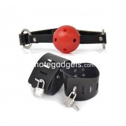 Fifty shades Stainless Steel Mouth O-Ring Lock Harness with Ball + Soft Lockable Handcuffs