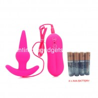 Sword 10-Frequency Powerful Vibrating Vibe Anal Butt Plug - B-Type Pink + 4 x AAA Battery