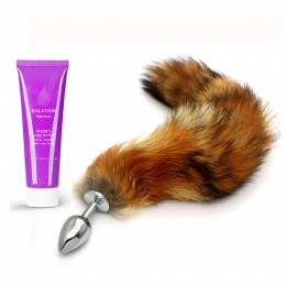 Frisky Fox Tail Anal Plug - S + Long Lasting Water Soluble Massage Lube - 60ml
