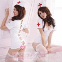 Deep V Nurse Role Playing Lingerie Set + G-string + Hat - White