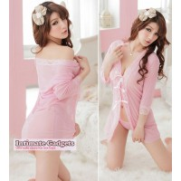 Night Alluring Sheer Lace Robe w/G-String - Pink