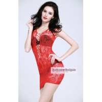 Temptation See-through Floral Bodystock Nightwear Dress - Red