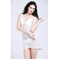 Temptation See-through Floral Bodystock Nightwear Dress - White