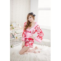 Japanese Flower Kimono Dress + G-String+ Band Set Sleepwear