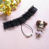 Sexy Lace G-string Pearl Beads Massage Thong - Black