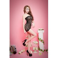 Strapless See-through Net Dress Bodystocking - Black