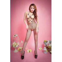 Halter Plain Fishnet Bodystocking With Open Crotch - Black