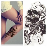 Waterproof Body Arm Leg Art Tattoo Sticker Skull Gun Temporary Tattoos - 1pcs