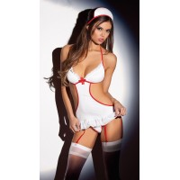 Ultra Sexy Role Play Nurse Uniform Temptation Bikini One-piece Dress - White + Red