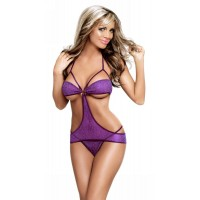 Ultra Sexy One-piece Bikini Nightwear Suit w/ T-back - Light Purple