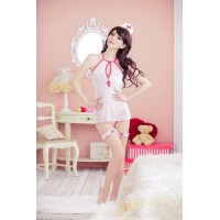 Sexy Nurse Style Cosplay Sleep Dress Set - White + Red