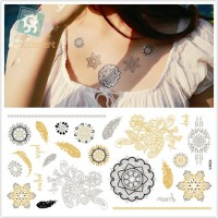 Women Choker Bracelet Jewlery Temporary Tattoo Silver Gold Tattoos 5 styles/set