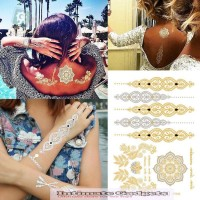 Gold Tattoo Necklace Bracelets India Tattoo Stickers 5 styles/set