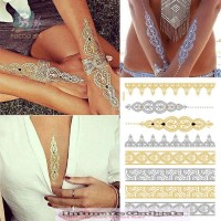 Temporary Tattoo Women Flash Golden Fake Necklace Bracelet Stickers 5 styles/set