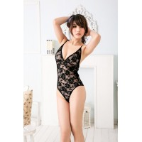 Sexy Lace One-piece Underwear Sheer Teddy Lingerie - Black
