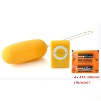 Erotic MP3 Remote Control Vibrating Egg Yellow + 4 x AAA Batteries