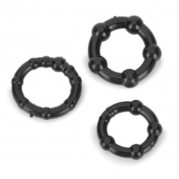 Triple Beaded Cockrings - Black