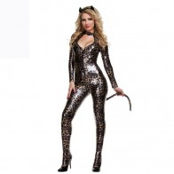 Sexy Cool Cat Costume Halloween Cosplay Role Play Jumpsuit with Tail - Leopard