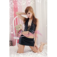 Women's Fashionable Sexy Lace Leather Cosplay Role Play Sleep Dress - Black