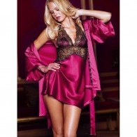 Women's Sexy Bathrobe + Lace Halter V Neck Babydoll Nightdress Lingerie Set - Purplish Red