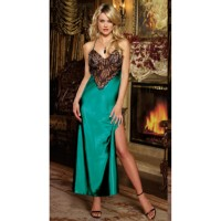 Women's Sexy Deep V Neck Backless Side Slit Long Maxi Nightdress Lingerie Sleepwear w/ Thong