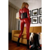 Women's Sexy Elastic Grid Pattern Zippered Long-Sleeve Catsuit Bodysuit Lingerie - Red + Black