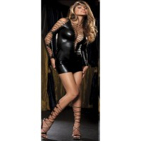 Women's Sexy Bundled Straps Strappy Mini Dress Lingerie Nightdress w/ Thong - Black
