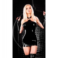 Women's Sexy Tight-Fitting Halter Spandex Mini Dress Lingerie Nightdress - Black