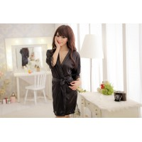 Fashion Ice Silk Bathrobes w Lace Cuff for Women
