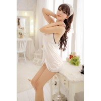 Elegant White Soft Micro Fiber Open Front Halter Babydoll w Chest Lace Trim + G-string