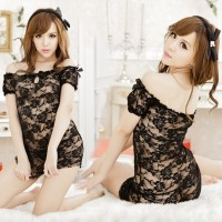 Women's Sexy Off Shoulder Lace Mesh Sleepwear + G-String