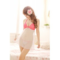 Cute Princess Halter Open Back Babydoll Robe Sleepwear + G-string