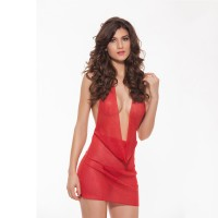 Deep V-Neck Backless See-through Halter Sexy Lingerie Dress - Red