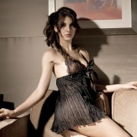 Sexy Lingerie Lace Babydoll Dress + Underpants Set - Black