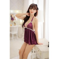 Luxurious Satin Halter Babydoll Purple with G-string