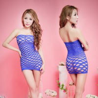 Strapless See-through Net Dress Bodystocking - blue