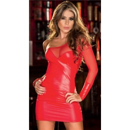 One Shoulder Backless Shiny Dress - Red