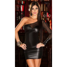 One Shoulder Backless Shiny Dress - Black