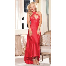Lace Hole Halter Long Gown - Red