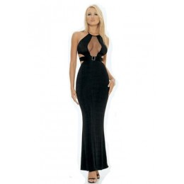 Lace Hole Halter Long Gown - Black