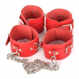 Fifty shades of grey Chains Wrist&Ankle Cuffs Set - Red