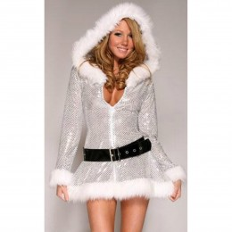 Sexy Santa Claus Mini Dress w/ Belt - White + Silver + Black