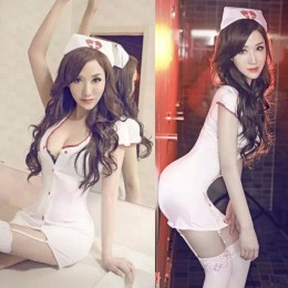 Luring Nurse Style Cosplay Dress Set With Garters