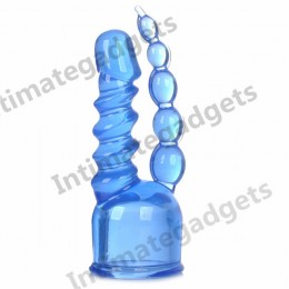 LOUGE Dual-head Dong Anal beads Wand Headgear- Blue (Size S)